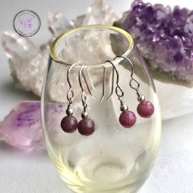 Pink Tourmaline Silver Earrings